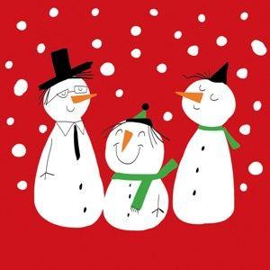 Balení 10 papírových ubrousků s vánočním motivem PPD Smiling Snowmen Red