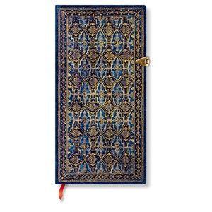 Linkovaný zápisník s tvrdou vazbou Paperblanks Blue Rhine, 9,5 x 18 cm