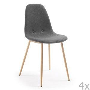 Sada 4 tmavě šedých jídelních židlí La Forma Lissy