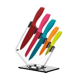 Sada 5 barevných nožů se stojanem Premier Housewares Soft Grip