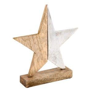 Vánoční dřevěná dekorace ve tvaru hvězdy Ego Dekor, výška17,5cm