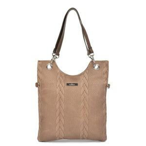 Béžová kožená kabelka Mangotti Bags Farria