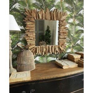 Zrcadlo s dřevěným rámem Orchidea Milano Natural, 70x70cm
