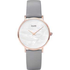 Dámské hodinky s šedým koženým řemínkem a s perleťovým ciferníkem Cluse Minuit
