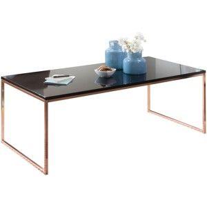Černý konferenční stůl s nohami v měděné barvě Skyport Riva, výška 45 cm