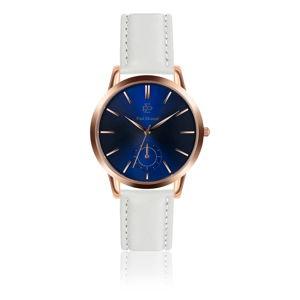 Unisex hodinky s páskem z pravé kůže v bílé barvě Paul McNeal Cisto