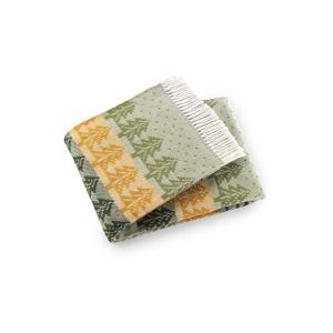 Zeleno-žlutý pléd s podílem bavlny Euromant Kuusi, 140x180cm