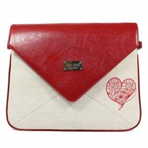 Červeno-béžová kabelka Dara bags Envelope No.519