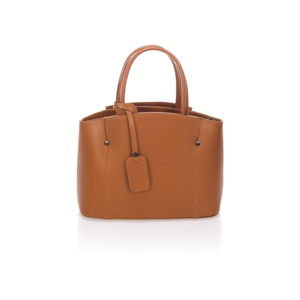 Koňakově hnědá kožená kabelka Lisa Minardi Halona