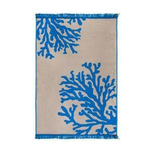 Béžovo-modrý oboustranný koberec Coral Mundo, 140 x 215 cm