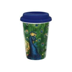 Cestovní porcelánový hrnek s víčkem Duo Gift Peacock, 380 ml