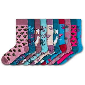Sada 10 párů barevných ponožek Funky Steps Funny Mix, velikost 35 - 39