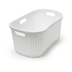 Bílý koš na prádlo Addis Rattan Laundry Basket Calico