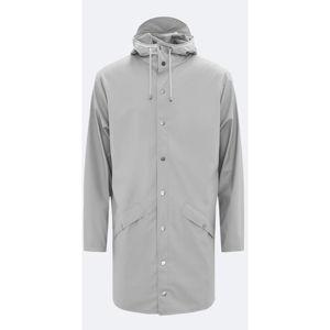 Šedá unisex bunda s vysokou voděodolností Rains Long Jacket, velikost XXS/XS