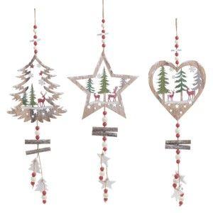 Sada 3 vánočních dřevěných závěsných dekorací InArt Naomi