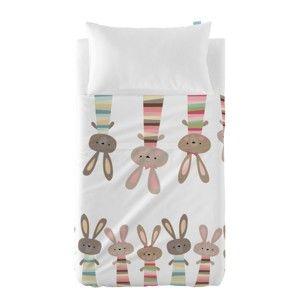 Tenký přehoz a povlak na polštář Moshi Moshi Rabbit Family, 120x180cm