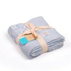 Světle modrá bavlněná dětská deka Baby Ecru Lana, 90 x 90 cm