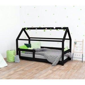 Černá dětská postel s bočnicemi ze smrkového dřeva Benlemi Tery, 80 x 200 cm