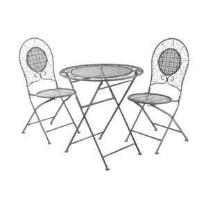 Set 2 šedých zahradních skládacích židlí a stolku Premier Housewares Jardin