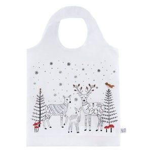 Bílá nákupní taška s vánočním motivem Sass & Belle Winter Forest