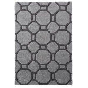 Šedý ručně tuftovaný koberec Think Rugs Hong Kong Tile Grey, 120 x 170 cm