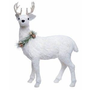 Bílá dekorace Ewax Ciervo, výška 45cm