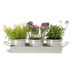 Sada květináčů s podnosem Garden Trading Clay, 3 ks