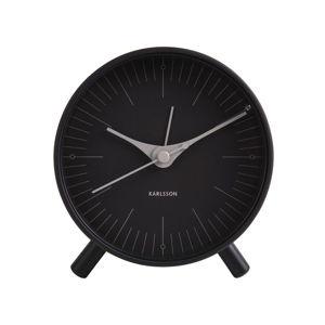 Černý kovový budík Karlsson Index,ø11cm