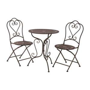 Set 2 hnědých zahradních židlí a stolku Premier Housewares Jardin