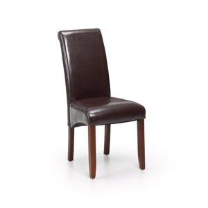 Tmavě hnědá židle z bukového dřeva a koženky Moycor Oregon