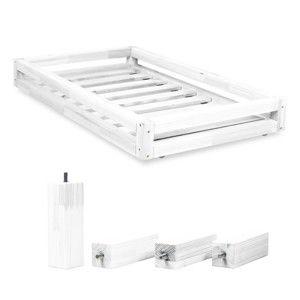 Set bílé zásuvky pod postel a 4 prodloužených nohou Benlemi,propostel120x200cm