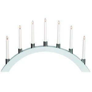 Bílý LED svícen Best Season Tall Bow, 7 svíček