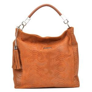 Dámská kožená kabelka v koňakově hnědé barvě Carla Ferreri Nina