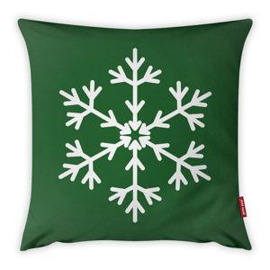 Povlak na polštář Vitaus Christmas Period Green Simple Snowflake, 43 x 43 cm