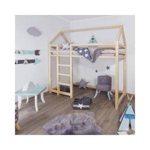 Vyvýšená postel ze smrkového dřeva s žebříkem vlevo BenlemiNesty, 120x200cm