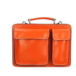 Oranžová kožená aktovka Chicca Borse Gaia