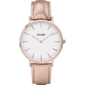 Dámské hodinky s růžovým koženým řemínkem a detaily v barvě růžového zlata Cluse La Bohéme