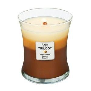 Třívrstvá svíčka s vůní koláče, vanilky a karamelu WoodWick Hřejivé pohodlí, 55 hodin hoření