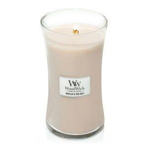 Vonná svíčka WoodWick Tudo Vanilka a mořská sůl, 130 hodin hoření