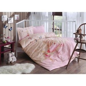 Růžové dětské povlečení z bavlny s prostěradlem Roseanne, 100 x 150 cm
