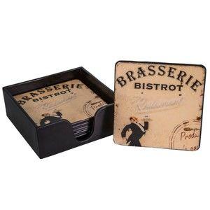 Set 6 pod-tácky Antic Line Brasserie