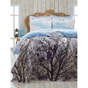 Lehký přehoz přes postel na jednolůžko Pique Peace Blue, 160 x 235 cm
