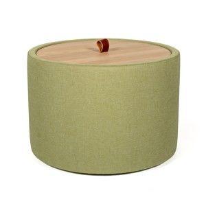 Odkládací stolek v zelené barvě se snímatelnou deskou z dubového dřeva Askala Ibisco, ⌀56cm