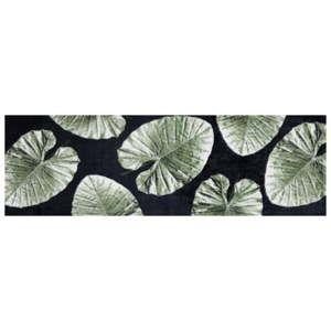 Černý běhoun s listy White Label Notre, 70 x 50 cm