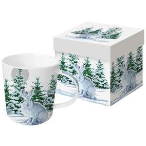 Hrnek z kostního porcelánu s vánočním motivem v dárkovém balení PPD Snow Rabbit, 350 ml