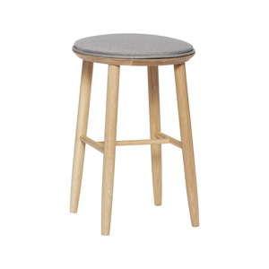 Barová stolička z dubového dřeva s polstrovaným sedákem Hübsch Oak Bar Stool, výška 52 cm