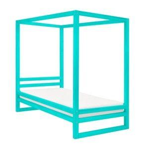Tyrkysově modrá dřevěná jednolůžková postel Benlemi Baldee, 200x80cm