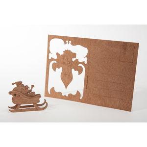 Dřevěná pohlednice Formes Berlin Santa, 14,8 x 10,5 cm