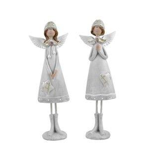 Sada 2 dekorativních andělíčků v čepicích Ego Dekor Cosy, výška24cm