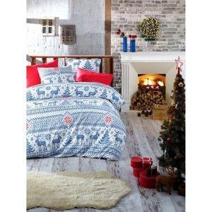 Vánoční bavlněné povlečení na dvojlůžko s prostěradlem Maya, 200x220cm